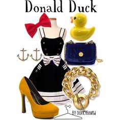 I love this collection by DisneyBound inspired by the Disney Character Donald Duck. I love this dress.