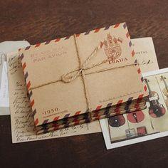Brown KRAFT Paper Mini AIRMAIL Envelopes x 10 : PRAHA
