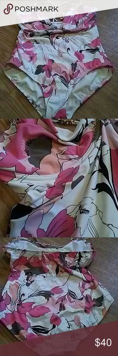 DKNY Bathing Suit EUC with beautiful colors of white, coral, pink, peach, mocha and black. Worn twice. Ties around neck. Cups are not padded but fully lined and have underwire. DKNY Swim One Pieces