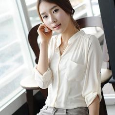 Buy 'Ringnor – Mandarin-Collar Chiffon Blouse' at YesStyle.com plus more China items and get Free International Shipping on qualifying orders.