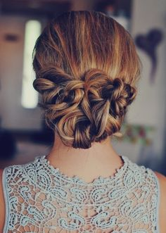 Cross french celtic knot up do prom hair