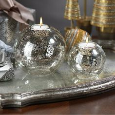 Antique Silver Glass Ball Tealight Holder - Set of 4 -  - CARLYLE AVENUE