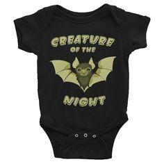 Creature of the Night Baby Onesie, Goth Baby Clothes, Goth Baby, Gothic Baby Clothes, Gothic Baby, Black Baby Clothes, Goth Mom, Gothic Mom, Rockabilly Mom, Alt Mom, Alternative Mom, Punk Mom, Punk Baby, Rockabilly Baby, Alternative Baby, Rock Baby, Bat Baby, Bat, Witch Baby, Ghost Baby,  Baby Romper, Black Bodysuit, Black Onesie, Clothing, Unisex Baby Clothes, Halloween, Baby Shower Gift, New Baby Gift, Push Present, First Birthday Gift, Pregnancy Announcement