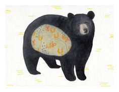 Rustic black bear Woodland forest Yellow abstract Gifts by Hazen21, $18.00