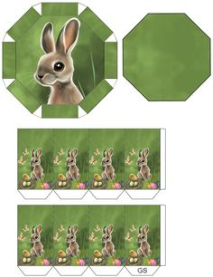 Ostern Schachtel printie's Easter Art, Easter Crafts, Rena, Printable Box, Bible Lessons For Kids, Box Patterns, Cardboard Art, Paper Gift Bags, Rabbits