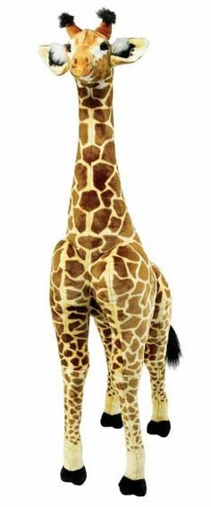 Nearly tall, this gorgeous Giraffe makes a big statement wherever it stands! With soft, realistic-looking colorful plush on the outside and a sturdy wire frame on the inside, this gentle giant is sure to draw attention with its substanti Pet Toys, Baby Toys, Giant Giraffe, Giant Stuffed Animals, Stuffed Giraffe, Giraffe Birthday, Thing 1, Kids Party Themes, Safari Theme