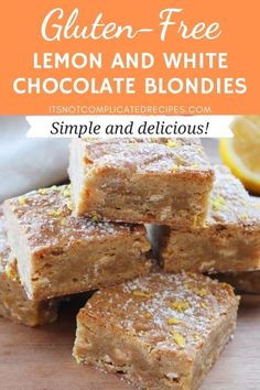 These Gluten-Free Lemon Blondies are the perfect balance of sweet, with a slight tang from the addition of lemon. The crisp exterior with a perfectly moist and slightly gooey centre is sheer perfection. #lemonblondies #glutenfreelemonblondies #blondies #glutenfreeblondies #glutenfreedesserts #lemonrecipes #cravecookconsume #itsnotcomplicatedrecipes
