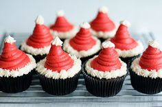 Santa Hat Cupcakes - maybe I will do the strawberries and whipped cream on a mini cupcake instead of brownie this year...