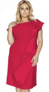 Rochie midi, eleganta, de culoare rosie