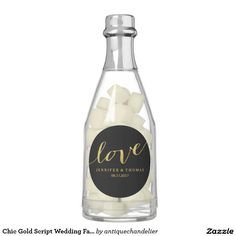 Chic Gold Script Wedding Favor Chewing Gum Favors