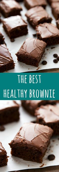 The BEST healthy brownies with no flour, no refined white sugar, no butter, and no eggs. These delicious brownies are easy to make and include an optional frosting recipe made using Greek yogurt! # healthy sweets The Best Healthier Brownies (Video) Healthy Deserts, Healthy Dessert Recipes, Healthy Sweets, Healthy Baking, Delicious Desserts, Yummy Food, Healthy Chocolate Desserts, Healthier Desserts, No Sugar Desserts