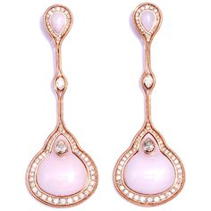 Fernando Jorge Pink opal, diamond and rose gold earrings ($26,286) ❤ liked on Polyvore