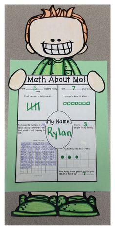 The 2 Teaching Divas: Math About Me! Very cute, hands-on craftivity just right… Math Stations, Math Centers, All About Me Maths, Second Grade Math, Grade 1, Math Crafts, Math Talk, Beginning Of School, Middle School