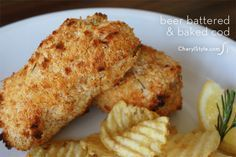 cod recipe - Everyday Dishes & DIY Beer-battered baked cod (healthier fish and chips) I used corn flakes and I would make batter thinner next timeUsed To Baked Cod Recipes, Beer Recipes, Fish Recipes, Seafood Recipes, Cooking Recipes, Cooking Fish, Whole30 Recipes, Salmon Recipes, Fish Dishes