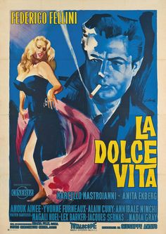 A great poster from the classic Fellini movie La Dolce Vita starring Anita Ekberg and Marcello Mastroianni! Check out the rest of our fantastic selection of Fellini Movie posters! Need Poster Mounts. Classic Movie Posters, Movie Poster Art, Classic Movies, Old Movies, Vintage Movies, Vintage Posters, Anita Ekberg, Films Cinema, Cinema Posters