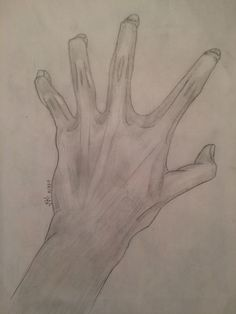 "What I call the ""dragon talon hand;"" my drawing of my friend's double-jointed hand."
