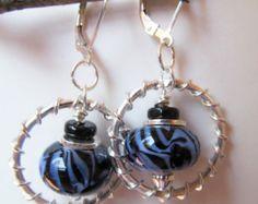 Blue with Black Swirls Lampwork Glass Beaded Sterling Silver Leverback Earrings