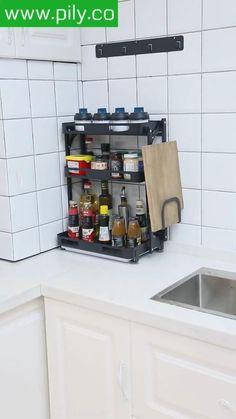 spice rack organization space saving Spice Rack Organization, Spice Rack Organiser, Kitchen Organization, Kitchen Shelves, Kitchen Storage, Kitchen Cabinets, Magnetic Spice Jars, Kitchen Fixtures, Modern Kitchen Design