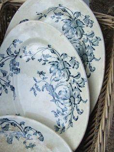 Blue & white floral transferware