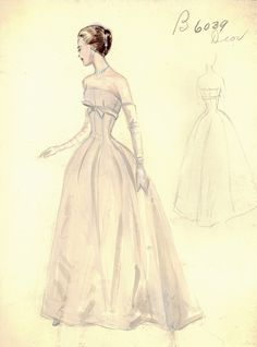 Archivists have the chance to document fashion through history -- Illustration - Bergdorf Goodman Archives -  Coctail & Evening Dresses, 1950-1969