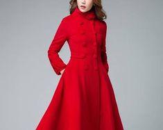 Green coat Womens Coats Winter Coat wool coat fit and Hooded Wool Coat, Red Wool Coat, Long Wool Coat, Red Coats, Green Coat, Long Winter Coats, Winter Coats Women, Coats For Women, Ladies Hooded Coats