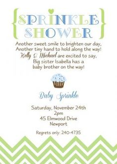 Sprinkle Baby Shower Invitation With Chocolate Cupcake And Sprinkles In Colors For A Boy