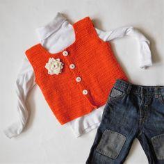 Crochet vest orange vest for girl hand knit child by VeneraCrochet