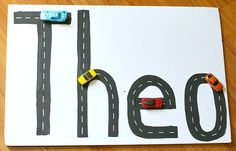If you have a child that loves playing with toy cars, why not integrate the cars into a fun learning activity! Create roads for the toy cars using the letters of your child's name to create this tactile name activity for kids!