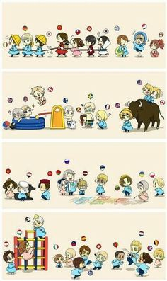 Hetalia awwwww cute little England America and Canada