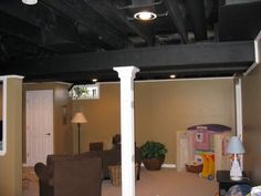 Paint Basement Ceiling Joists painted the floors with