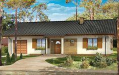 Projekt domu jednorodzinnego dla 4-5 osobowej rodziny. Projekt  Bursztyn to dom o prostej bryle, przekryty dwuspadowym dachem. Ekonomiczny i nieskomplikowany w budowie. We wnętrzu domu przewidziano oprócz obszernego salonu trzy sypialnie, łazienki oraz pomieszczenie gospodarcze.