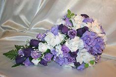 Bridal Bouquet Cascade Package Lavender Purple Silk Rose Wedding Flower 2pc   | eBay