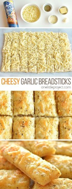 These cheesy garlic breadsticks are so easy to make and they taste SO GOOD! - - These cheesy garlic breadsticks are so easy to make and they taste SO GOOD! They take less than 20 minutes from start to finish and go really well wit. Wallpaper Food, Cheesy Garlic Breadsticks Recipe, Breadstick Recipe, Garlic Pizza Crust Recipe, Italian Breadsticks, Homemade Breadsticks, Food Dishes, Bread Dishes, Cheese Dishes