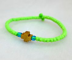 Tiny Lime yellow Cotton Prayer Rope Bracelet with by BYZANTINO