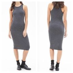 Ribbed tank grey midi dress Chic dark grey race back tank midi ribbed dress PLEASE comment on the size you want and allow me to make you a personalized listing BUNDLE AND SAVE 10% Dresses Midi