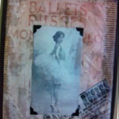 BALLETS RUSSES  Vintage ephemera and wax collage.  $75