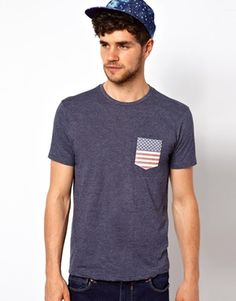 Brave Soul T-Shirt With USA Flag Pocket