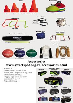 Accessories Cones Marker cones 50 and 20 sets. Slalom poles – 12 pole set in bag Medicine balls 1 to 6 Kg skipping ropes cotton and leather mini hurdles 9 and bags, and clothing. Skipping Rope, Netball, Hurdles, Ropes, Sports Equipment, Markers, Balls, Medicine, Mini