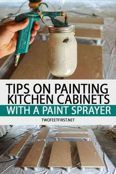 Are you looking at painting your kitchen cabinets? Here are some tips on painting kitchen cabinets with a paint sprayer. PS I would use a paint sprayer! Diy Kitchen Cabinets, Kitchen Cabinet Doors, Kitchen Paint, New Kitchen, Kitchen Decor, Kitchen Ideas, Basement Kitchen, Kitchen Tips, 10x10 Kitchen