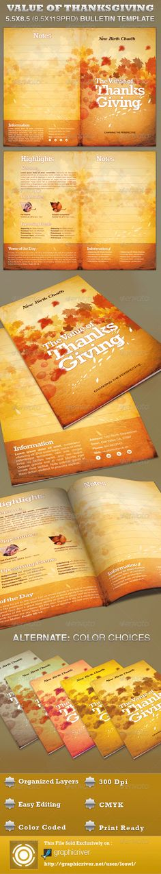 The The Value of Thanksgiving Church Bulletin Template is great for any Harvest, Thanksgiving and Fall Church Event. Use it for Sermons, Pageants and Musicals, etc. The layered Photoshop files are color coded and organized in folders for easy editing. The file also contains 5 – One Click Color options. - $6.00