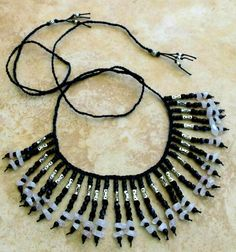 Beaded Bib Necklace Beads and Stone Necklace by FrancaandNen