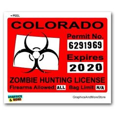 Colorado CO Zombie Hunting License