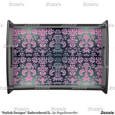 """""""Stylish Designs"""" Embroidered Damask* Serving Tray"""