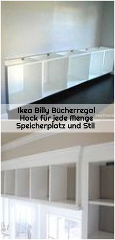 Ikea Billy Bookshelf Hack for loads of storage space and style - ikea-billy-bookcase-hack Ikea Billy Bookcase Hack, Bookshelves, Storage Spaces, Hacks, Furniture, Home Decor, Bookshelf Ideas, Closet Storage, Bookcases