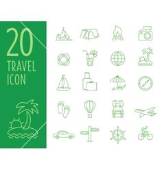 Set of green travel icons travel icons in vector  - by TopVectors on VectorStock®