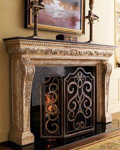 """Atlantis"" Mantel & Scroll Fireplace Screen at Neiman Marcus. Farmhouse Fireplace Screens, Fireplace Screens With Doors, Fireplace Windows, Log Burner Fireplace, Fireplace Built Ins, Concrete Fireplace, Fireplace Hearth, Home Fireplace, Marble Fireplaces"
