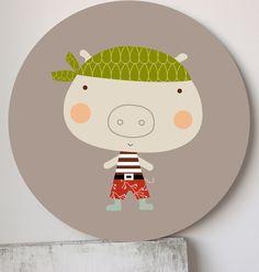Kids wall art, prints and murals-Cuadros infantiles, láminas y tarjetas para fiestas — Cuadro infantil Piratilla- Super Pirate Dot wallart