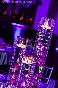 Suhaag Garden, Florida wedding decorator, crystals, crystal centerpieces, floating candles, vase