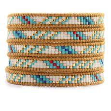 Turquoise Mix Beaded Wrap Bracelet on Henna Leather