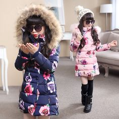Hot bán 2016 Thời Trang Trung-dài Áo Khoác Mùa Đông cho Cô Gái Quần Áo Trẻ Em Big Cô Gái In Bông-Áo Khoác độn với Fur Hood
